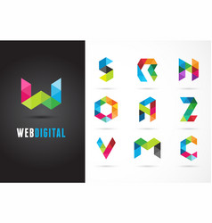 Creative digital letter colorful icons logos vector