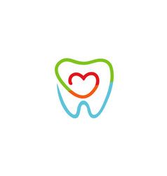 creative teeth heart inside logo vector image