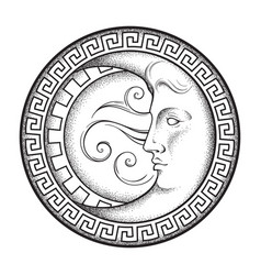 Crescent moon in antique style hand drawn line art vector