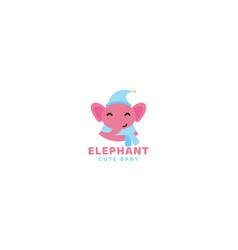 Cute cartoon elephant kid head face smile vector