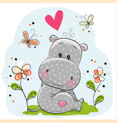 Cute hippo with flowers and butterflies vector