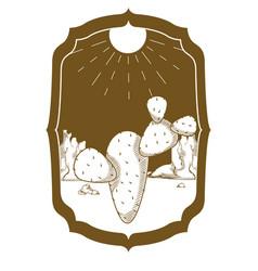 desert cactus on vintage frame vector image