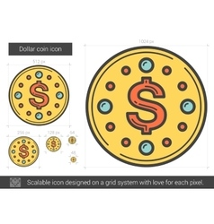 Dollar coin line icon vector image