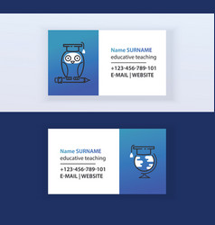 Educative teaching set business cards online vector