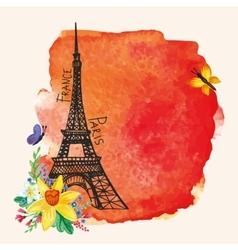 Eiffel towerWatercolor spotNarcissus bouquet vector