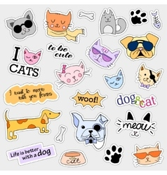 Fashion patch badges Cat and dog set Stickers vector