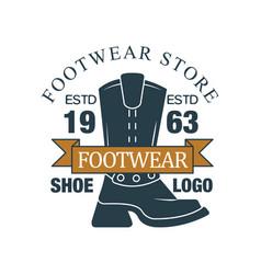 Footwear store shoe logo estd 1963 vintage vector