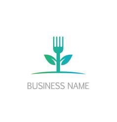 Fork leaf vegan logo vector