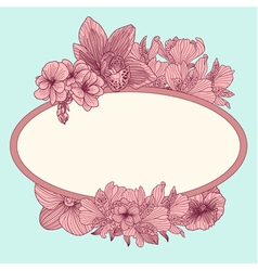 Frame with vintage flowers on teal background vector image