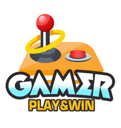 Gamer play win retro joystick background vector