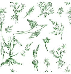 Garden flowers seamless pattern sketch vector image