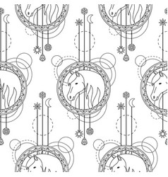 geometric horse seamless pattern vector image