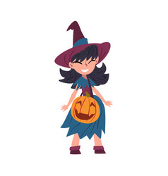 girl witch standing with bag made pumpkin vector image
