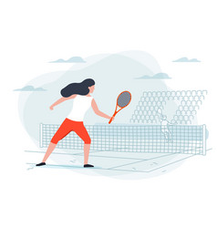 Girl with racket on background with court vector