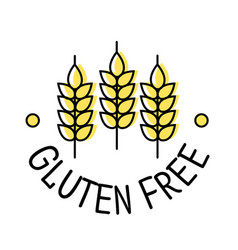 Gluten free product label icon with ears wheat vector