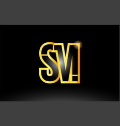 Gold black alphabet letter sm s m logo vector