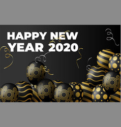 golden balloons and particles on black vector image