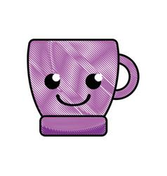 grated smile coffee cup kawaii cartoon vector image