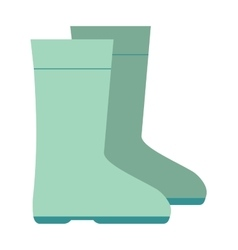 Green rubber rain boots green color vector
