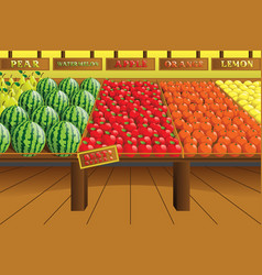 Grocery store produce aisle vector