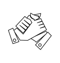 Hand commitment teamwork together outline logo vector