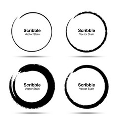 Hand drawn circle brush brush circular smears vector