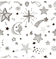 Hand drawn seamless pattern with doodle stars vector image vector image