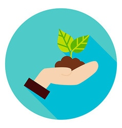 Hand with Plant Growth Circle Icon vector
