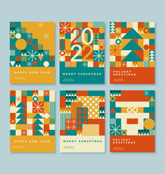 happy 2022 new year abstract geometric card design vector image