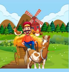 happy farmer riding cart vector image