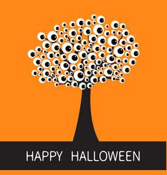 Happy halloween card black tree silhouette branch vector