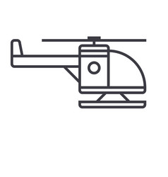Helicopter line icon sign on vector