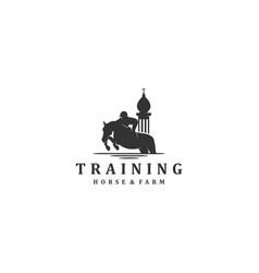 Horse training with horseman logo element vector