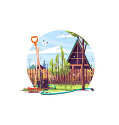 house and garden exterior vector image