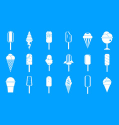 ice cream icon blue set vector image