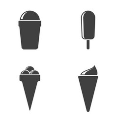 icons of ice cream in different cups on vector image