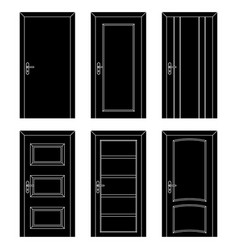 interior doors black flat set of designs vector image