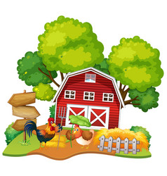 Isolated chicken house on white background vector