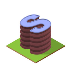Isometric building letter s form vector