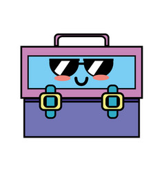Kawaii cute funny suitcase design vector