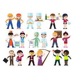 Kids professions characters set vector