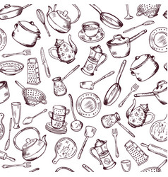 Kitchen cooking elements seamless pattern vector