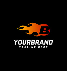 Letter b logo design letters with fire speed vector
