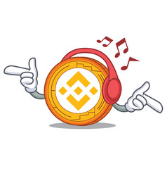 Listening music binance coin mascot catoon vector