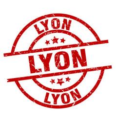Lyon red round grunge stamp vector