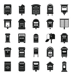 Mailbox postal icons set simple style vector