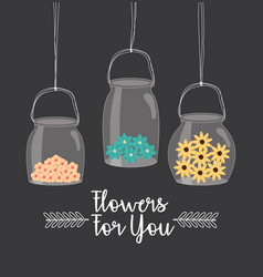Mason jars with flowers hanging vector