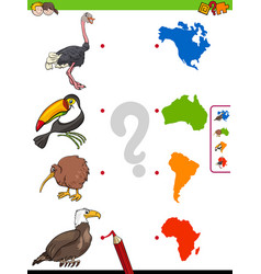 Match animals and continents shapes educational vector
