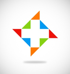 Medic cross color logo vector