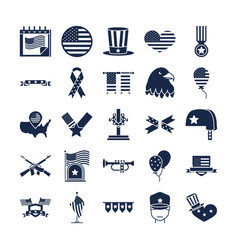 memorial day american national celebration icons vector image